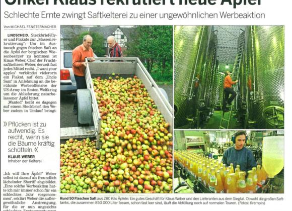 Onkel Klaus rekrutiert neue Äpfel