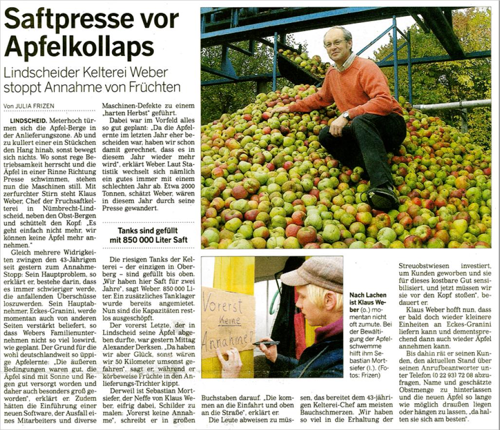 Saftpresse vor Apfelkollaps